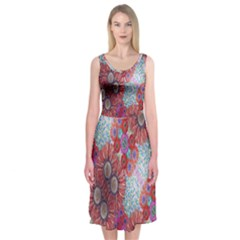 Floral Flower Wallpaper Created From Coloring Book Colorful Background Midi Sleeveless Dress