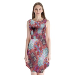 Floral Flower Wallpaper Created From Coloring Book Colorful Background Sleeveless Chiffon Dress