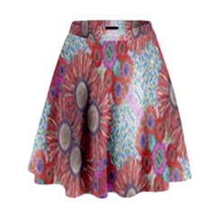 Floral Flower Wallpaper Created From Coloring Book Colorful Background High Waist Skirt