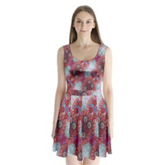 Floral Flower Wallpaper Created From Coloring Book Colorful Background Split Back Mini Dress