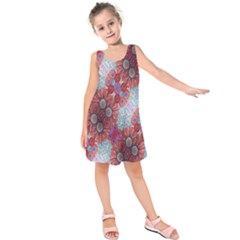 Floral Flower Wallpaper Created From Coloring Book Colorful Background Kids  Sleeveless Dress