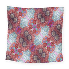 Floral Flower Wallpaper Created From Coloring Book Colorful Background Square Tapestry (large)