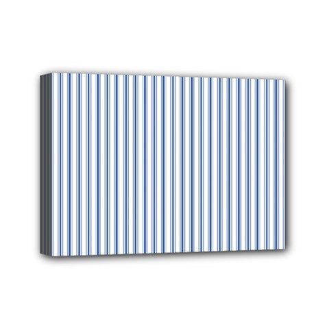 Mattress Ticking Narrow Striped Pattern in Dark Blue and White Mini Canvas 7  x 5