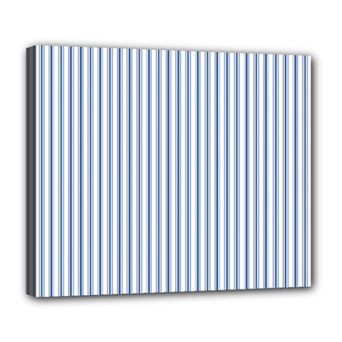 Mattress Ticking Narrow Striped Pattern in Dark Blue and White Deluxe Canvas 24  x 20