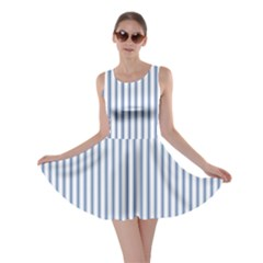 Mattress Ticking Narrow Striped Pattern in Dark Blue and White Skater Dress
