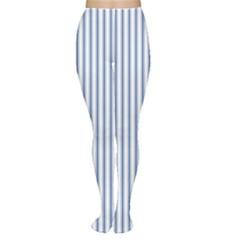 Mattress Ticking Narrow Striped Pattern in Dark Blue and White Women s Tights