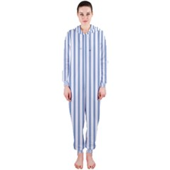 Mattress Ticking Narrow Striped Pattern in Dark Blue and White Hooded Jumpsuit (Ladies)