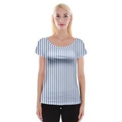 Mattress Ticking Narrow Striped Pattern in Dark Blue and White Women s Cap Sleeve Top