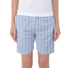 Mattress Ticking Narrow Striped Pattern in Dark Blue and White Women s Basketball Shorts