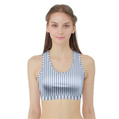 Mattress Ticking Narrow Striped Pattern in Dark Blue and White Sports Bra with Border