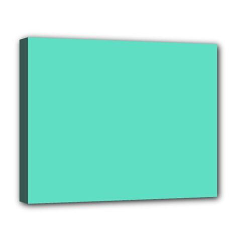 Tiffany Aqua Blue Solid Color Deluxe Canvas 20  x 16