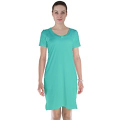 Tiffany Aqua Blue Solid Color Short Sleeve Nightdress
