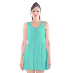 Tiffany Aqua Blue Solid Color Scoop Neck Skater Dress