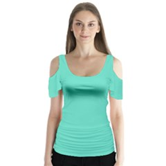 Tiffany Aqua Blue Solid Color Butterfly Sleeve Cutout Tee