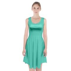 Tiffany Aqua Blue Solid Color Racerback Midi Dress