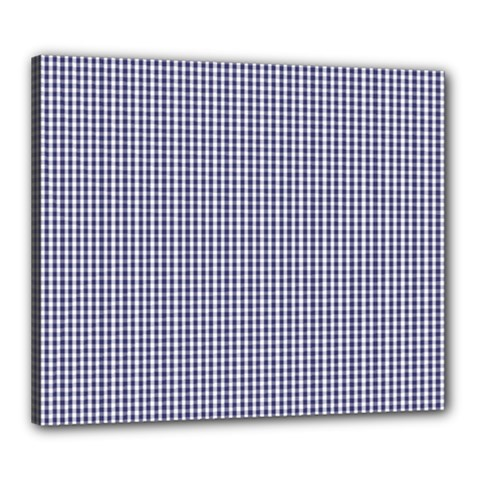 USA Flag Blue and White Gingham Checked Canvas 24  x 20