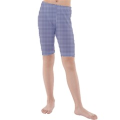 USA Flag Blue and White Gingham Checked Kids  Mid Length Swim Shorts
