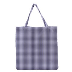 USA Flag Blue and White Gingham Checked Grocery Tote Bag