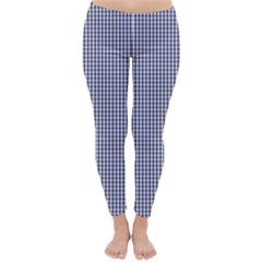 USA Flag Blue and White Gingham Checked Classic Winter Leggings