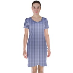 USA Flag Blue and White Gingham Checked Short Sleeve Nightdress