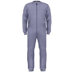 USA Flag Blue and White Gingham Checked OnePiece Jumpsuit (Men)