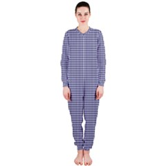 USA Flag Blue and White Gingham Checked OnePiece Jumpsuit (Ladies)