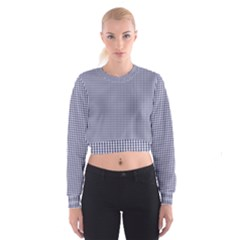 Usa Flag Blue And White Gingham Checked Women s Cropped Sweatshirt