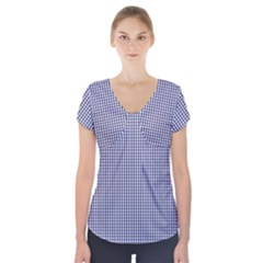 USA Flag Blue and White Gingham Checked Short Sleeve Front Detail Top