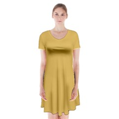 Designer Fall 2016 Color Trends-Spicy Mustard Yellow Short Sleeve V-neck Flare Dress
