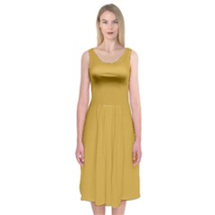 Designer Fall 2016 Color Trends-Spicy Mustard Yellow Midi Sleeveless Dress