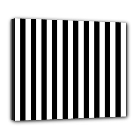 Large Black and White Cabana Stripe Deluxe Canvas 24  x 20