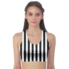 Large Black And White Cabana Stripe Sports Bra