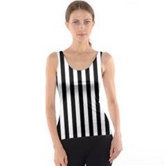 Large Black and White Cabana Stripe Tank Top
