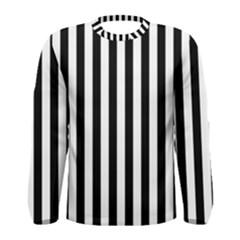 Large Black and White Cabana Stripe Men s Long Sleeve Tee