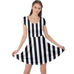 Large Black and White Cabana Stripe Cap Sleeve Dresses