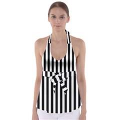 Large Black and White Cabana Stripe Babydoll Tankini Top