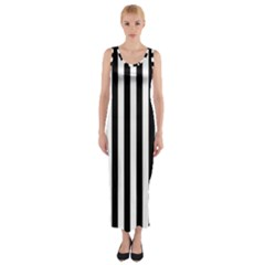 Large Black and White Cabana Stripe Fitted Maxi Dress