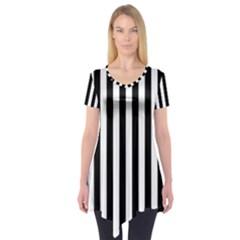 Large Black and White Cabana Stripe Short Sleeve Tunic