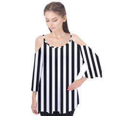 Large Black and White Cabana Stripe Flutter Tees