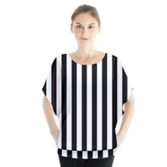 Large Black and White Cabana Stripe Blouse