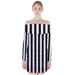 Large Black and White Cabana Stripe Long Sleeve Off Shoulder Dress