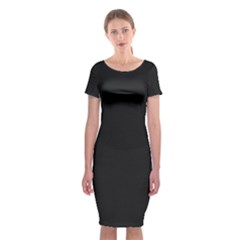 Black and Grey Perforated PInhole Carbon Fiber Classic Short Sleeve Midi Dress