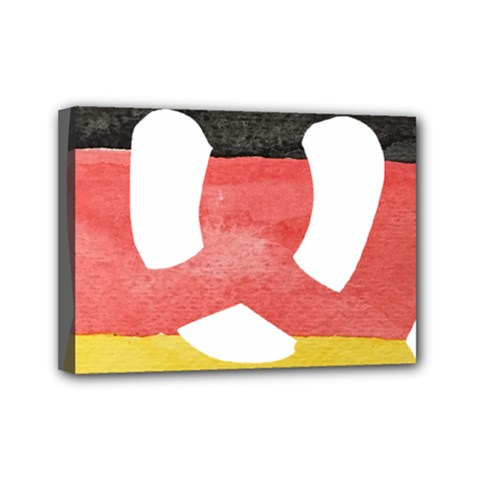 Pretzel In Hand Painted Water Colors Of German Flag Mini Canvas 7  X 5