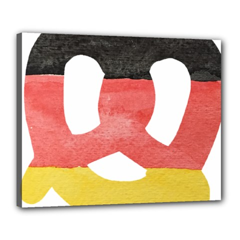 Pretzel in Hand-Painted Water Colors of German Flag Canvas 20  x 16