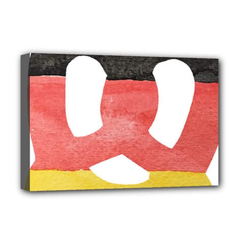 Pretzel in Hand-Painted Water Colors of German Flag Deluxe Canvas 18  x 12