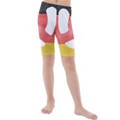 Pretzel in Hand-Painted Water Colors of German Flag Kids  Mid Length Swim Shorts