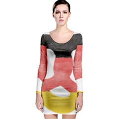 Pretzel in Hand-Painted Water Colors of German Flag Long Sleeve Bodycon Dress