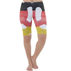 Pretzel in Hand-Painted Water Colors of German Flag Cropped Leggings