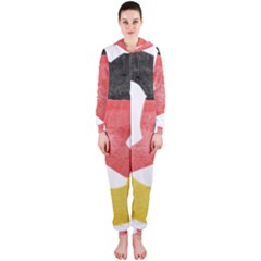 Pretzel in Hand-Painted Water Colors of German Flag Hooded Jumpsuit (Ladies)