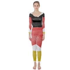 Pretzel in Hand-Painted Water Colors of German Flag Long Sleeve Catsuit